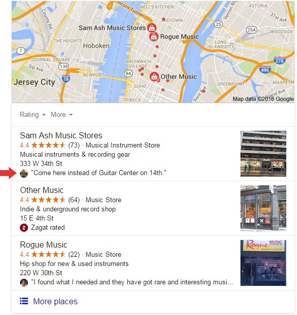 Google Plus review snippets