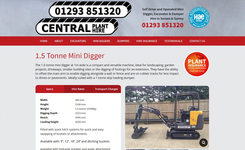 Central Plant Hire Internal page